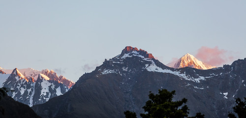 Majestic high peaks of Southern Alps at sunset, New Zealand