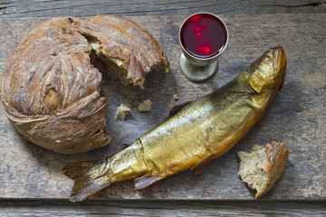 Bread wine and fish last supper easter abstract concept