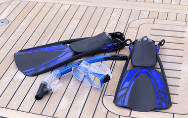 snorkel mask tube and flippers for diving