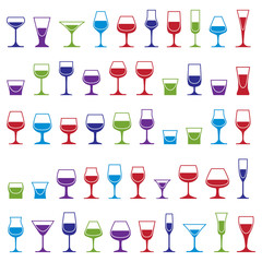 Drinking glasses collection – martini, wineglass, cognac, whis