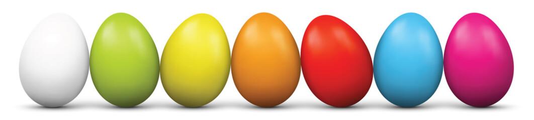 Ostereier, Eier, Ostern, Easter Eggs, nebeneinander, mehrere, 3D