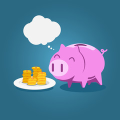 Piggy bank eat gold coin with blank bubble