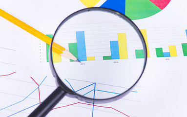 Business charts and numbers