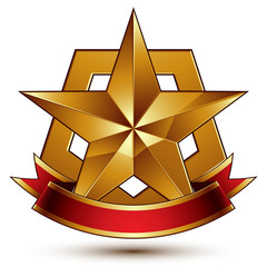 3d golden heraldic blazon with glossy pentagonal star, best for