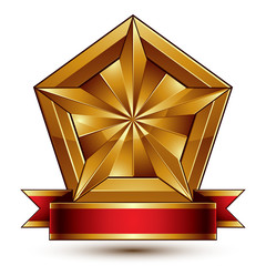 Vector glorious glossy design element, luxury 3d pentagonal gold