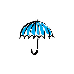 Illustrated vector open umbrella on white background.
