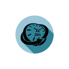 Graphic web vector 24 hours timer, around-the-clock pictogram. B