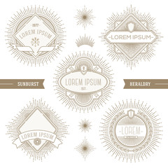 Set of line heraldic emblems and  labels with sunburst rays