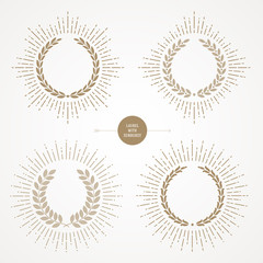 Set of laurel wreath with sunburst line rays