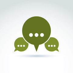 Three speech bubbles with dots, forum and discussion symbol isol
