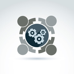Gears and cogs teamwork theme icon, vector conceptual stylish sy