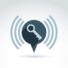 Key icon with inform sign, vector conceptual symbol.