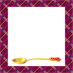 Background with golden teaspoon