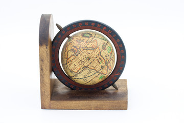 Vintage Wood Globe Earth on a White Background