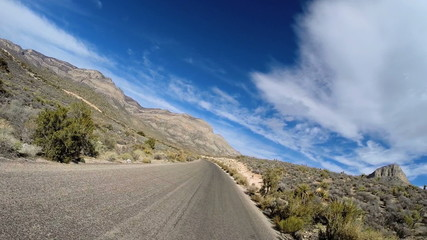 POV vehicle driving Red Rock Canyon State Park Conservation area Nevada USA