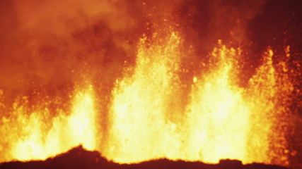 Night Scenic Fire Volcanic Molten Lava Exploding Magma Fissures Travel Iceland