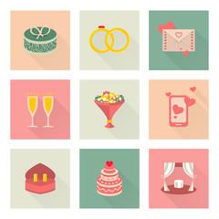 Wedding flat vector icons, gift, rings, envelope etc.