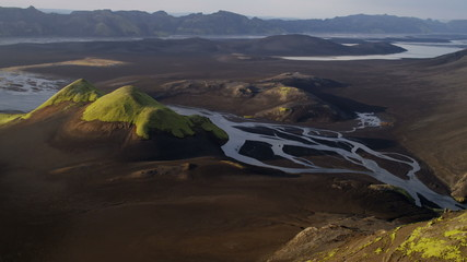 Aerial Fertile Glacial Region Iceland Water Lakes River Deltas Eco tourism