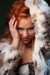 Photo of sexual beautiful girl is in fashion  lingerie and fur