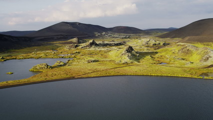 Aerial Mountain Meltwater Natural Lakes Melted Ice Flowing  Iceland