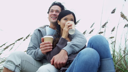 Asian Chinese Couple Warm Clothes Outdoors Beach Coffee
