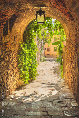 Leinwanddruck Bild Old streets of greenery a medieval Tuscan town.