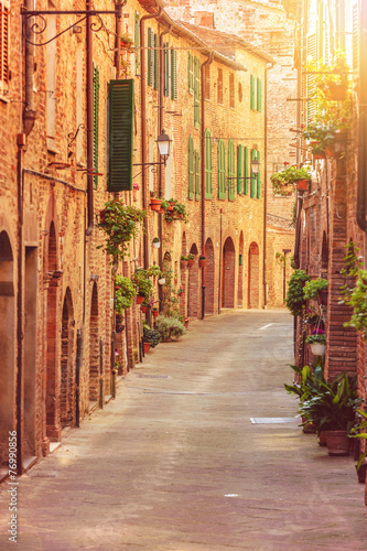Old beautiful Tuscan streets in the Italian town