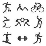 Sport fitness black icons