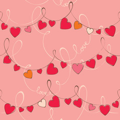 Valentine's day pattern with heart, vector, seamless.