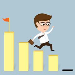 Businessman jump off falling down chart