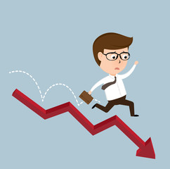 Businessman jump off falling down chart
