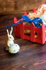 Easter decorations. Rabbit and quail eggs