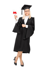 Female college graduate holding a diploma