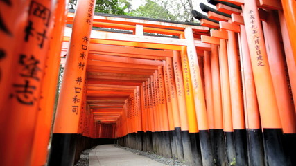 Torii gates Fushimi Inari Taisha shrine inscription Buddhist Kyoto Japan