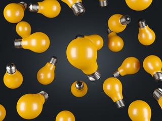 many falling yellow lamp
