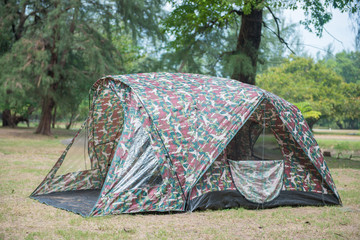 military tent in the forest
