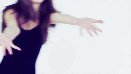 Professional teenager dancing in studio