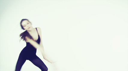 Young ballerina dancing isolated retro style slow motion3