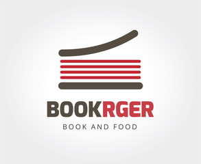 Abstract burger book logo template for branding and design