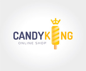 Abstract candy king logo template for branding and design