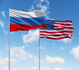 flags of usa and Russia