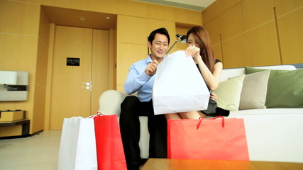 Male Female Couple Enjoyment Travel Vacation Hotel Luxury Designer Shopping