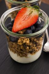 muesli and yogurt with fresh berries