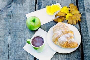 Autumn pastry breakfast in the forest