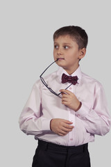 half-length portrait boy in bow tie that keeps the mouth shackle