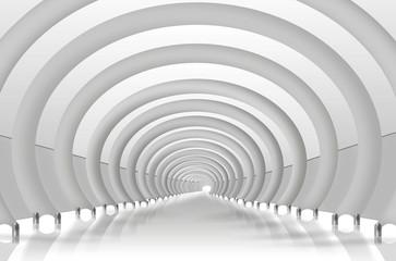 Tunnel mit Rundbögen. Moderne Architektur weiß, grau,
