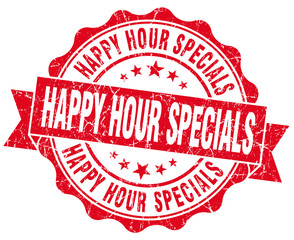 happy hour specials red grunge seal isolated on white