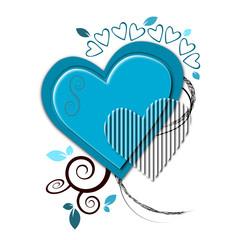 Illustration autour d'un coeur bleu