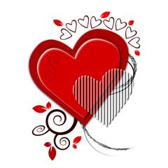 Illustration autour d'un coeur rouge