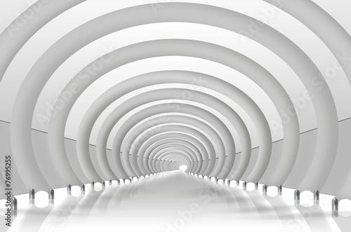 Tunnel mit Rundbögen. Moderne Architektur weiß, grau, - 76995255